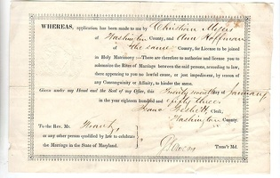 1853 Washington County Marriage License Hoffman Myers