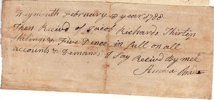 1788 Norfolk Weymouth Receipt for Money Owed Wade Richards