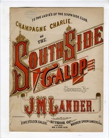 1868 Champagne Charlie Or The South Side Galop J M Lander