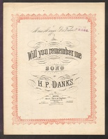 1877 Will You Remember Me H P Danks