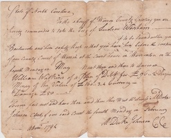 1774 Warren County Arrest Warrant for Ludson Worsham by Johnson for Watkins -1