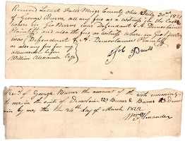 1821 Meigs Letart Falls Receipts for Witness Fees George Burns