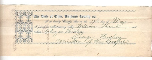 1854 Richland County Marriage Statement Thurna Hiskey